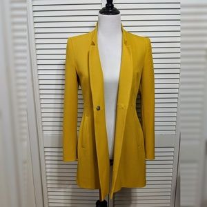 Zara Mustard Long Blazer Jacket